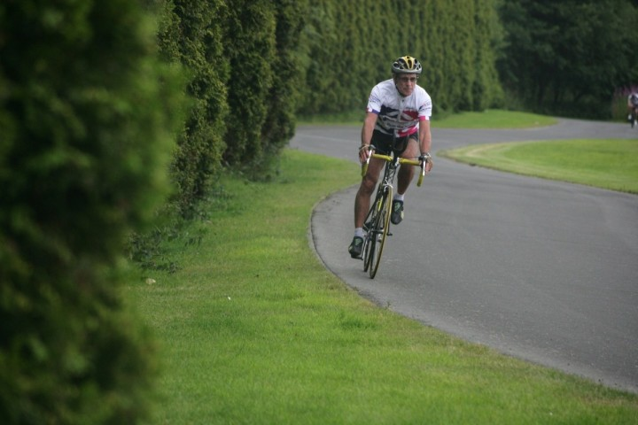 Single cyclist on the road