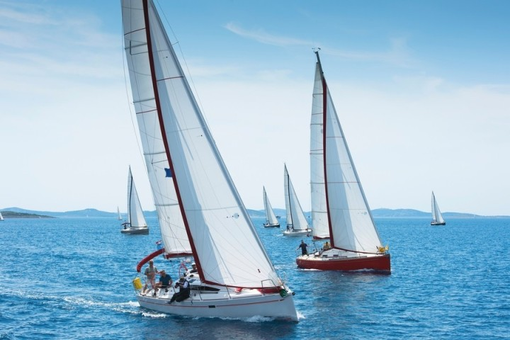 Multiple sailboats with white sails can be seen on a beautiful blue sea