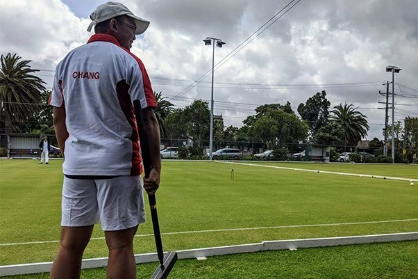 Eugene playing in the Croquet World Championship