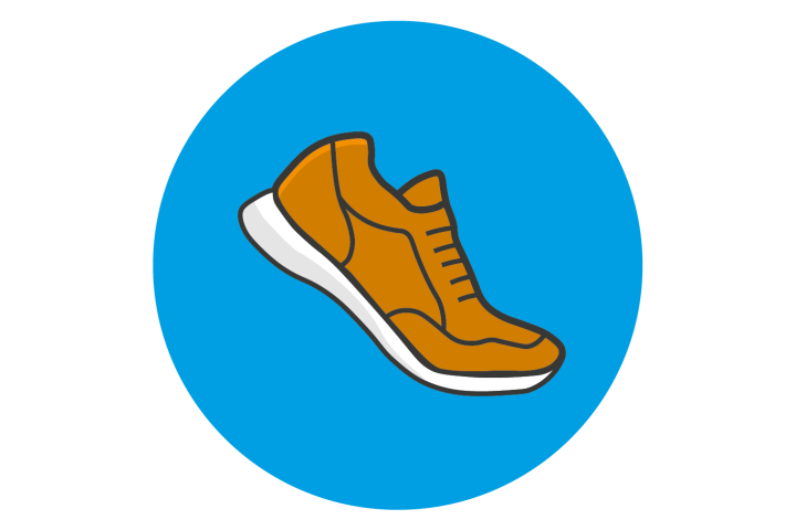 Illustrated running shoe in motion in a blue circle