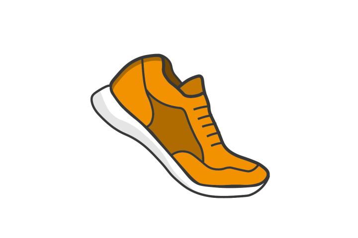 Illustrated running shoe in motion on a white background