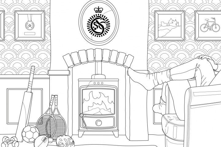 A line drawing of a cosy living room with a fireplace and armchair. There's sports equipment near the fireplace and the CSSC logo above the mantle