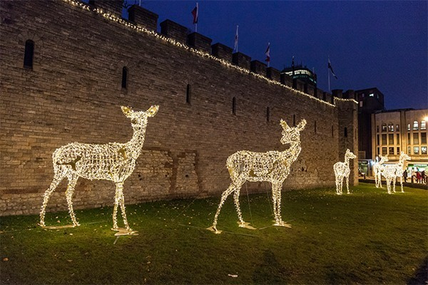 Reindeers made out of yellow Christmas lights outside Cardiff castle