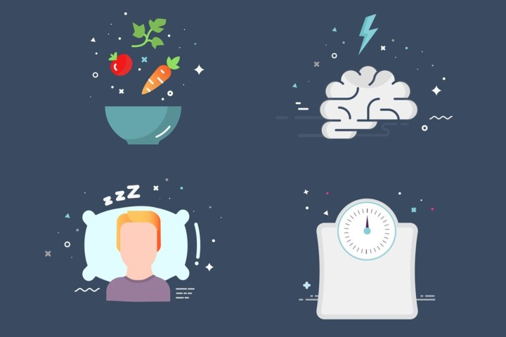 Illustrated health and wellbeing icons