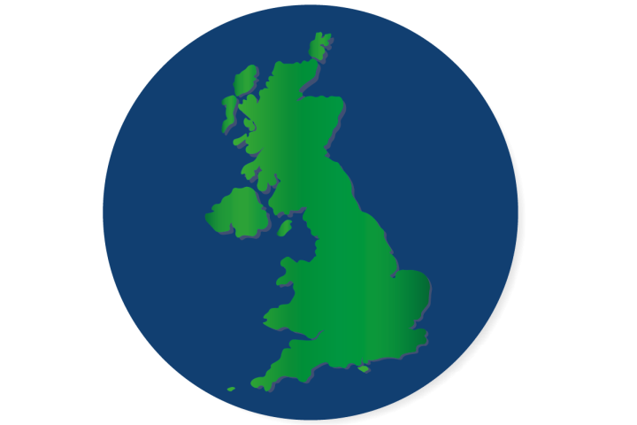 Illustrated UK Map on a blue circle