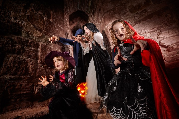 Family dressed up in halloween costumes at an english heritage site