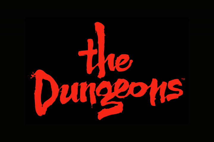 The dungeons written in red old script on a black background